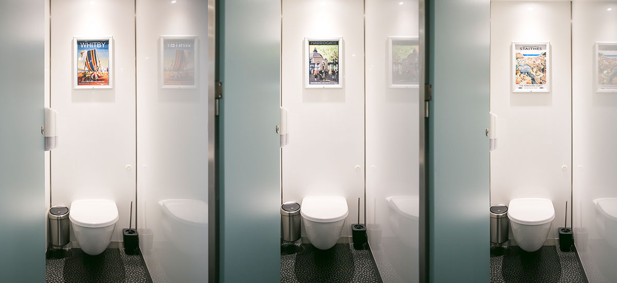 Floor to ceiling doors provide greater privacy in the cubicles